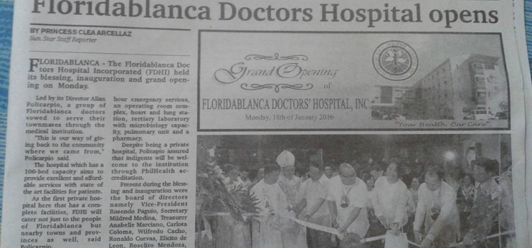 FDHI featured in SunStar Pampanga