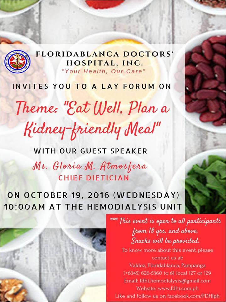 "Nurses' Week 2016 Hemodialysis Unit Lay Forum ""Eat Well, Plan a Kidney-friendly Meal"""